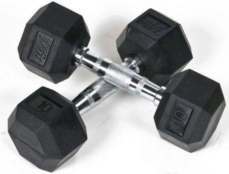 Rubber Hex Dumbbells - Best rubber coated dumbbells