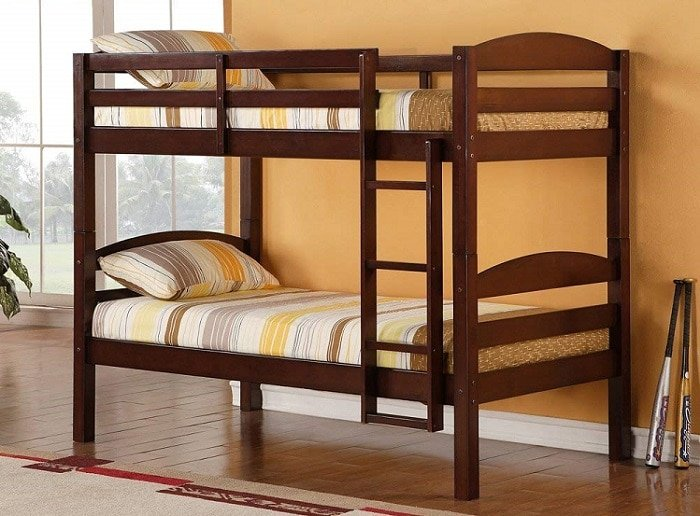 Walker Edison AZWSTOTES Wesley Wood Bunk Bed Twin Espresso for home use