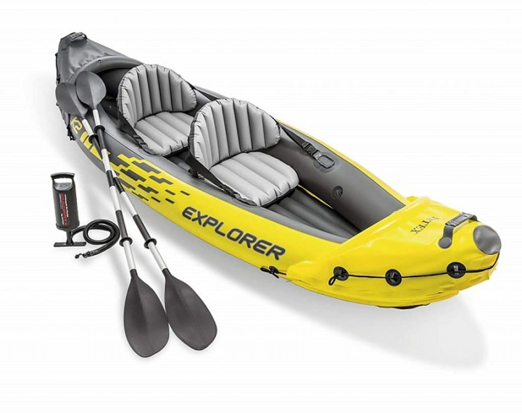 Intex Explorer K2 2-Person Inflatable Kayak Set with Aluminum Oars and High Output Air Pump