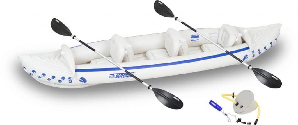 Sea Eagle 370 Deluxe 3 Person Inflatable Portable Sport Kayak Canoe