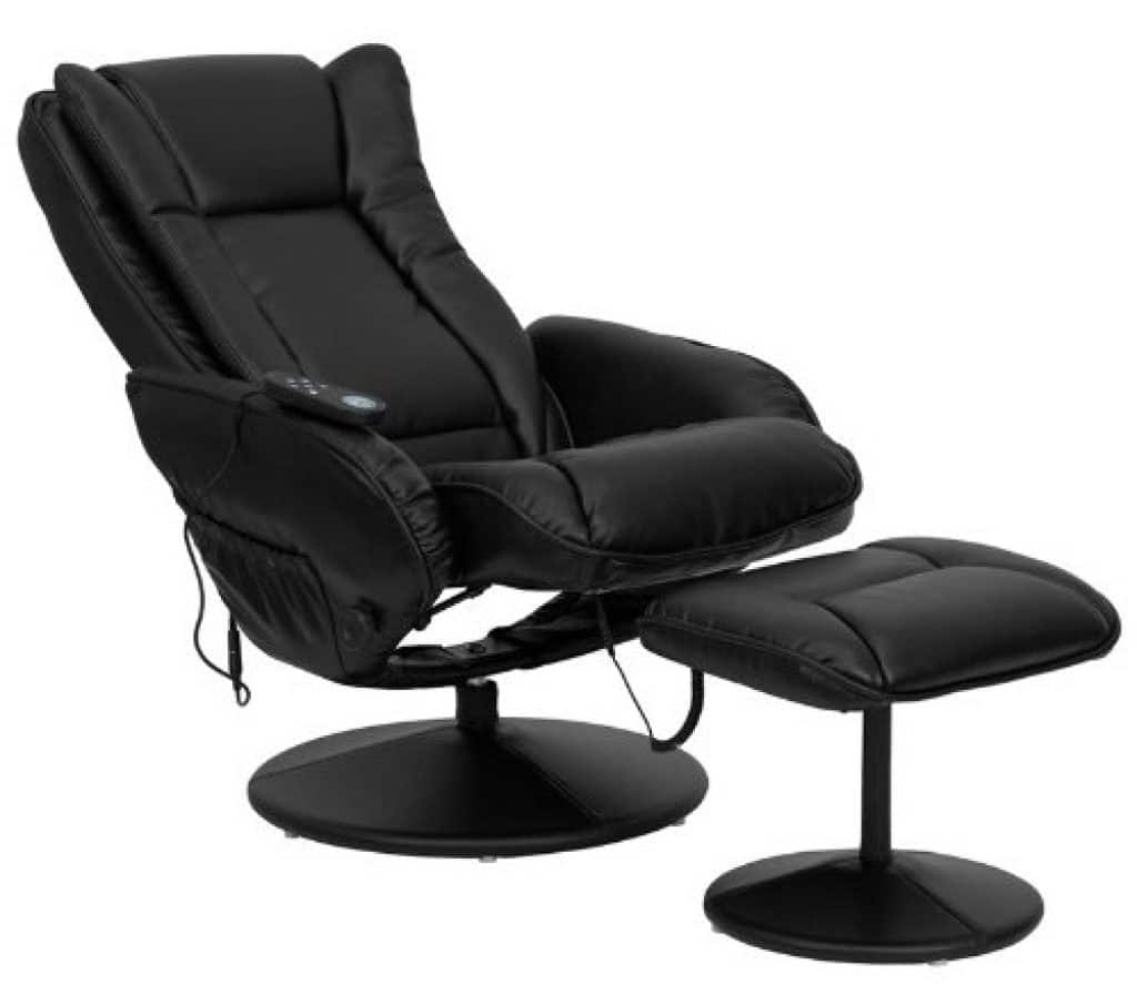Flash Furniture Massaging Black Leather Recliner