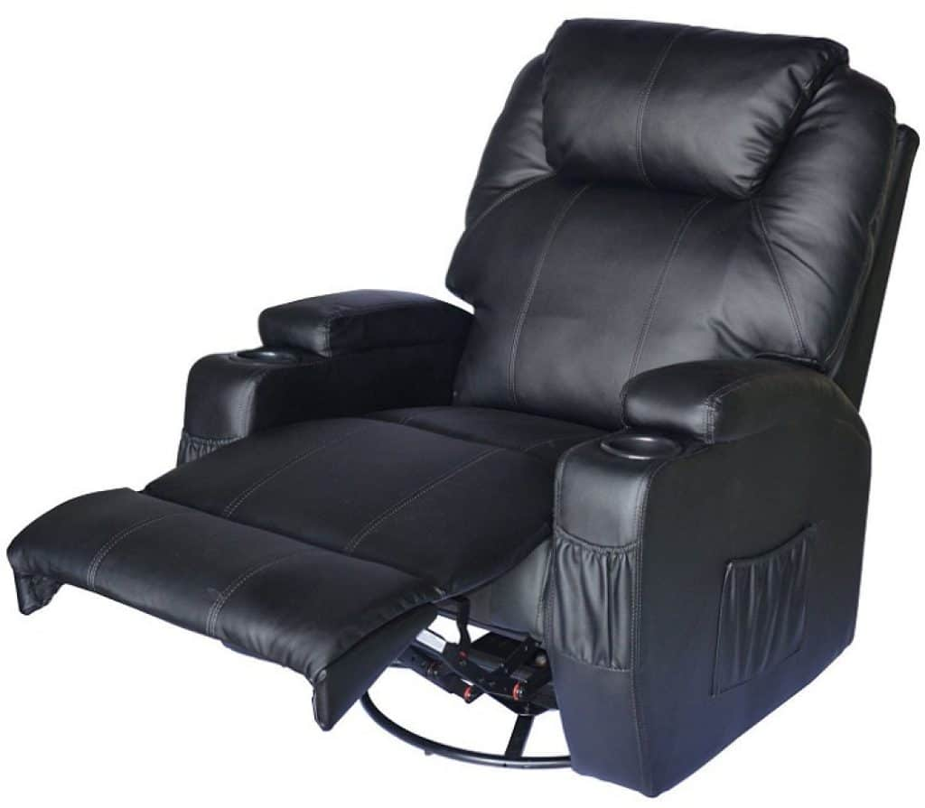 HomCom PU Leather Heated Vibrating 360 Degree Swivel Massage Recliner
