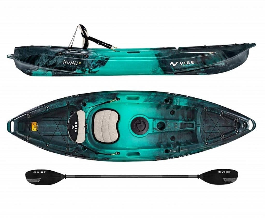 Vibe Kayaks Skipjack 90 9 Foot Angler and Recreational Sit On Top Light Weight Fishing Kayak with Paddle